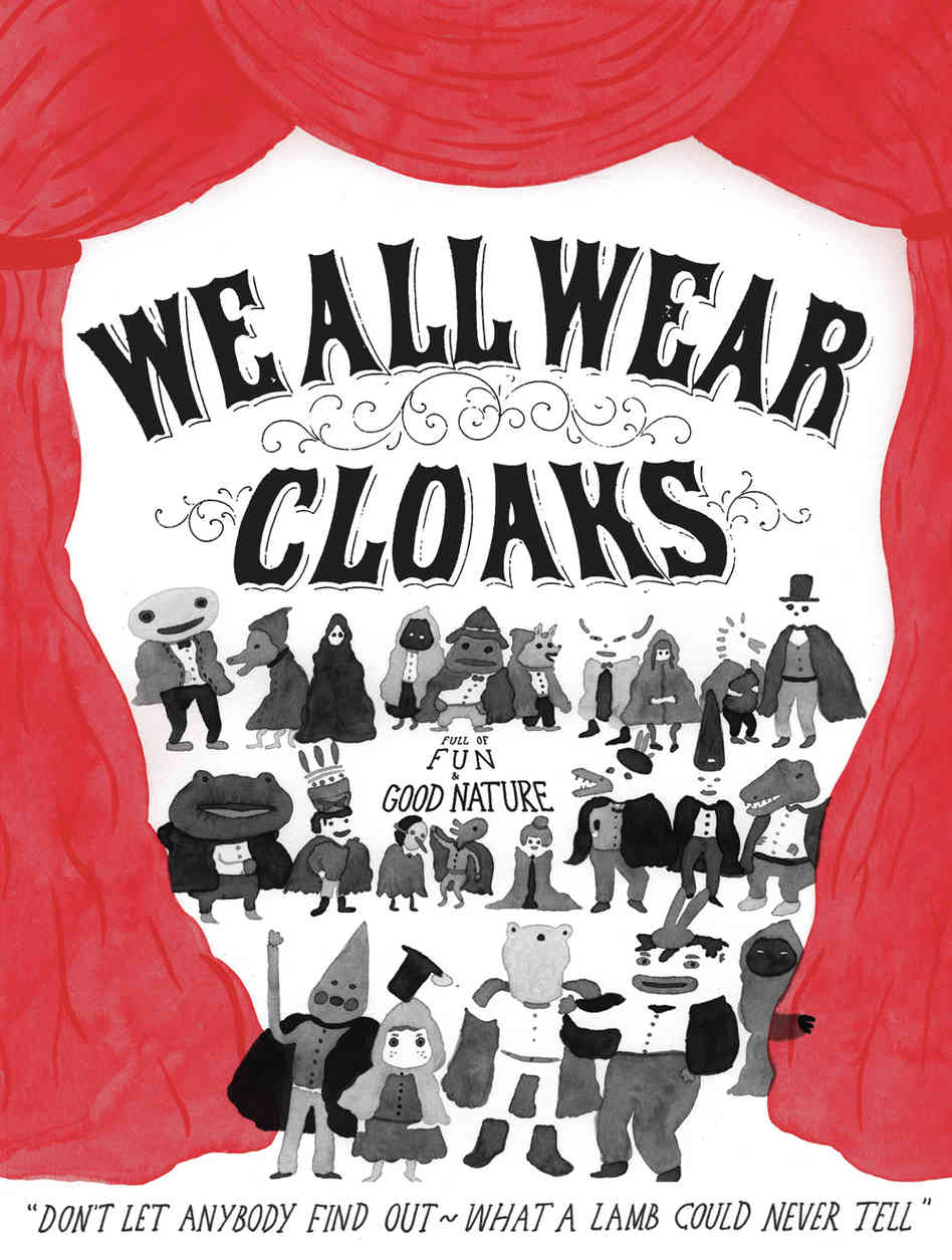 """Song Reader original art for the song """"We All Wear Cloaks."""""""