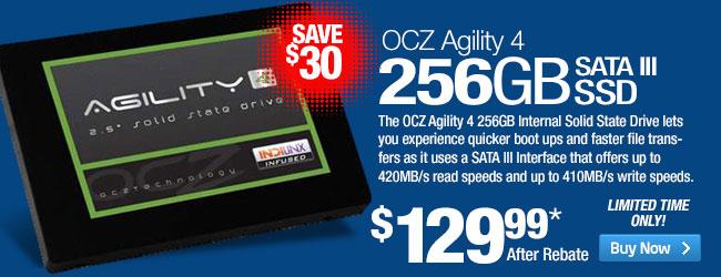 OCZ Agility 4 AGT4-25SAT3-256G 256GB Internal Solid State Drive - 2.5-inch Form Factor, SATA III, 6Gbps, TRIM, Ndurance 2.0 Technology