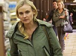 Bare faced: Diane Kruger went make-up free for a trip to the supermarket