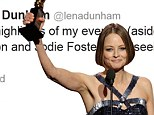 'Jodie Foster is an inspiration': Emmy Rossum, Lena Dunham and other celebrities react to actress's coming out speech at the Golden Globes