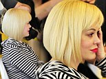 Actress Rose McGowan gets her hair styled into a trendy bob today in Hollywood