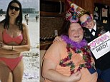 Rare disorder: Tanya Angus was a slender 5ft 8 and 130lbs as a teenager (left) but almost 7ft and 400lbs when she died suddenly today at the age of 34 in Las Vegas (right)