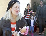 Tori Spelling steps out in Los Angeles with her husband and two of her children