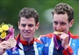 Alistair and Jonathan Brownlee with their Triathlon medals