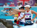 Mhairi Spence of Great Britain competes during the women's Modern Pentathlon
