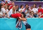 Samantha Murray of Great Britain celebrates with friends and family
