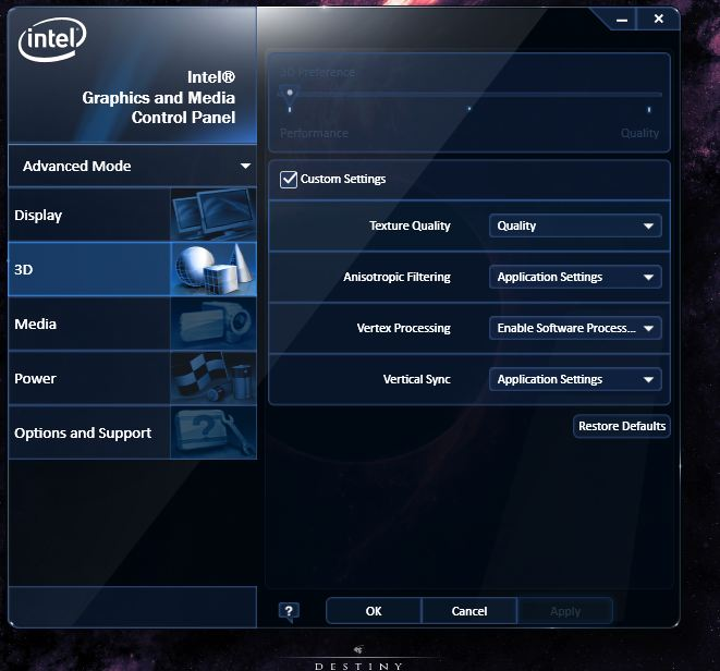 Intel HD Graphics Settings