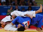Anthony Liu of USA and Jevgenijs Borodavko of Latvia compete in the men's -100kg Judo