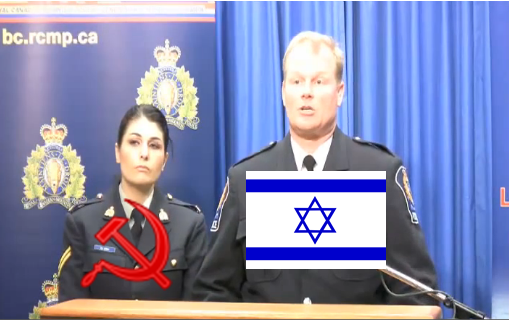 Terry Wilson and Normandie Levas, two Canadian traitors masquerading as police officers who want to put Whites in jail for expressing pride in their heritage.
