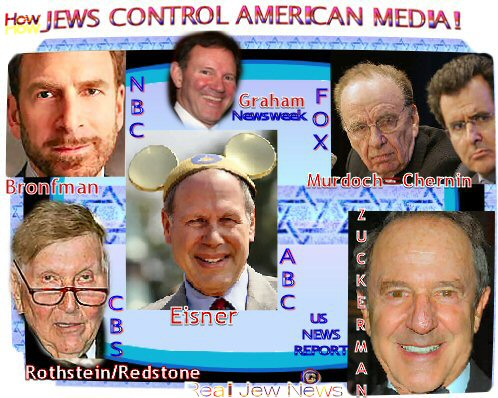 Jewish supremacists have a malignant death-grip over the mass media of the Western world, using these outlets as one giant loudspeaker to push their propaganda. Hypnotizing their subjects with repetitive slogans, catchphrases and imagery, the Jew-media has created a mass of hypnotized Zio Zombies ready to hunt down and slaughter Jewish enemies on command!