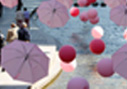 Pink umbrellas to promote Breast Cancer Awareness in Seoul