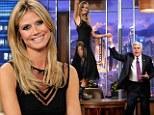 Heidi Klum wears ultra-sheer LBD on The Tonight Show...and dances on Jay Leno's desk