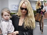 Ladies who lunch! Kimberly Stewart and her baby daughter Delilah grab a bite to eat at Fred Segal