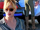 Melanie Griffith went shopping at Fred Segal in West Hollywood and needed some help to carry all her purchases to her car