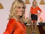 Short and sweet! Carrie Underwood is a dream in tangerine as she complements her golden tan in a silky shirt and miniskirt
