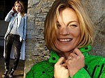 Relaxed Kate Moss cracks an easy smile as she poses for new Rag & Bone campaign in her beloved Cotswolds