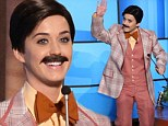 Suits you: Katy Perry dressed as a man on Ellen DeGeneres's birthday episode on Friday