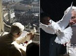 Benedict XVI releases a dove during the Angelus prayer in Saint Peter's square at the Vatican