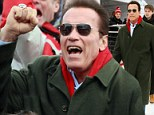 Mr Freeze returns! Arnold Schwarzenegger takes time out of film promotion tour to watch skiing in Austria