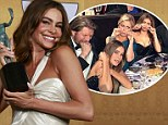 We won: Sofia Vergara holds her SAG award Sunday, two weeks after Modern Family lost at the Golden Globes
