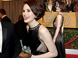 Downton Abbey's Michelle Dockery leads the British fashion pack in a daring sheer panel gown on the SAG Awards red carpet