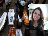 Empty coffins and coffins with the corpses of the victims of the Kiss night club fire