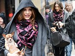 Mama's little baby! Katharine McPhee cradles her Chihuahua on walk through chilly New York City