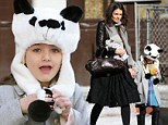 Panda-monium! Suri Cruise finds a novel way to keep warm as she sports a beary cute hat after brunch with Katie Holmes