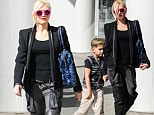 She's a looker in leather! Gwen Stefani steps out for family lunch... in edgy thigh high boots