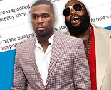 In a bizarre outburst 50 Cent has accused his fellow rapper Rick Ross of faking a drive-by shooting that left his Rolls Royce riddled with bullet holes.