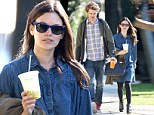 Ever the fashionista! Rachel Bilson does dressed-down denim in a cute smock for lazy morning with Hayden Christensen