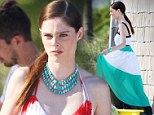 Maximum style! Coco Rocha is pretty in prints as she models floor-length dresses for Miami photo shoot