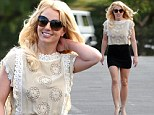 Britney Spears wears a short black skirt and heels to attend church Sunday near her home in Westlake Village, Ca.