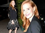 Keep on smiling! Jessica Chastain brushes off SAG Award disappointment by slipping into sophisticated lace dress for dinner