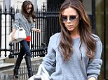 She can do casual: Victoria Beckham dresses down in jeans and jumper as she gets back to business in London