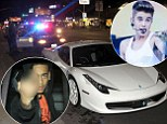 Justin Bieber's Ferrari hits headlines again after his friend is pulled over and arrested for 'driving without a licence'