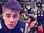 Risky business: Justin Bieber ditches a helmet for a muddy four-wheeler bike ride