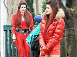 That's an interesting look! Meghan Ory dresses in head-to-toe red to shoot scenes for fairytale series Once Upon a Time