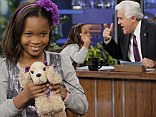 Already a talk show pro! Quvenzhané Wallis, nine, confidently chats to Jay Leno... and reveals she wants to meet Beyonce at the Oscars