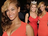 She is the Queen Bey! Beyonce is only missing her crown as stunning singer poses with Miss America at Super Bowl junket