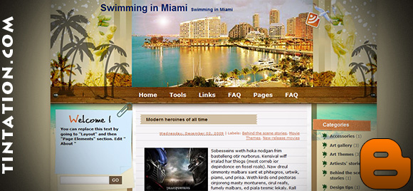 Download Free Blogger Template Swimming In Miami