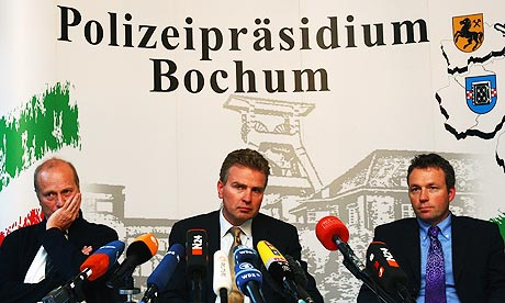 Friedhelm Althans of Bochum police, Peter Limacher of Uefa and Andreas Bachmann