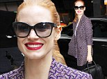 Lady in red: Jessica Chastain flashes some serious lip colour in New York
