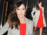 Lady in red! Minka Kelly makes an elegant exit as she slips into a scarlet dress and chic grey coat