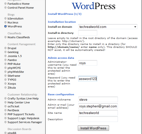 screenshot of wordpress instaltion using fantastico
