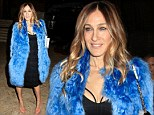 High society never looked like this! Sarah Jessica Parker steps out in black bustier dress and furry blue coat at New York event