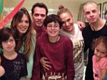 Blended family: Jennifer Lopez and Marc Anthony poses with their new significant others, Shannon de Lima, back left, and Casper Smart, back third from right, at a birthday celebration for Marc's son, Cristian