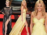 Simply purrrfect pins! Pussycat Dolls best friends Ashley Roberts and Kimberley Wyatt show off dramatic dresses with thigh-high splits at film premiere
