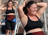 Nicole Eggert practices her dives for the upcoming ABC show Splash