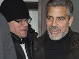 The beard is back! George Clooney reveals salt and pepper facial hair as he enjoys midnight dinner at upscale Berlin restaurant with Matt Damon